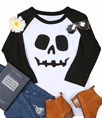 JINTING Funny Easy Halloween Costume Skull Face Tshirt Tee Women Screw Neck Graphic Raglan 3/4 Sleeve Baseball Tee T-Shirt Size M (Black)