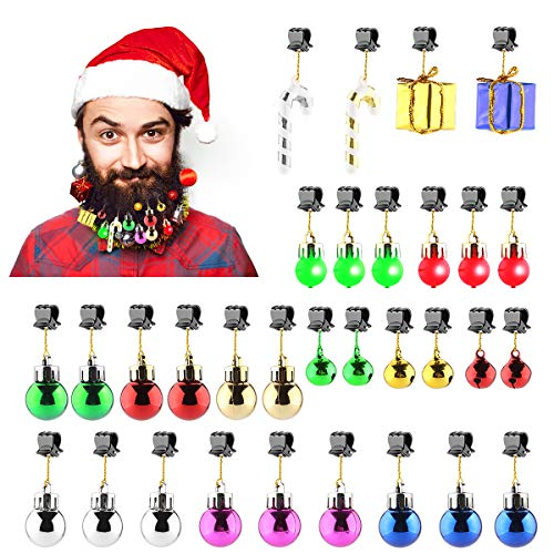 Makone 31pcs Light Up Beard Ornaments for Men, Candy Cane Colorful Sounding Jingle Bells and Lights Beard Bauble Ornaments for Christmas Party Décor and New Year Festival Gift