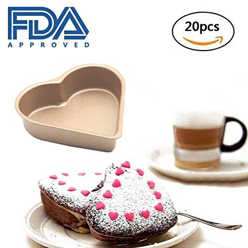 (Kuke Mini Chocolate Cupcake Mold Non-stick Baking Bake Muffin Cupcake Heart-shaped Pie Pans Pudding Tin Mold size 20)