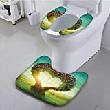 Auraisehome Sit Toilet Cover Shaped Tree in The Meadow Grassland Wildflowers Enchanted irytale with High Absorbency