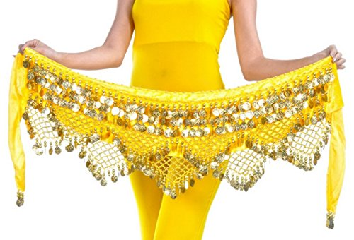 [Girls Lady Women Belly Scarf Gold Coins Belly Dance Velvet Triangle Hip Scarf Yellow] (Scarf Coin Belly Dance Costumes)