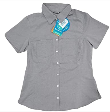 2a270056 Columbia Women's Omni-Shade UPF Button Up Shirt Blouse (Nocturnal Chambray,  Small)