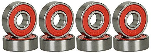 CJESLNA ABEC 9 Bearings Skateboard Deck Longboard Red Silver 1 set of 8 (101005003128)