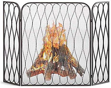 暖炉用品・アクセサリ 赤ちゃんの安全な3パネル火は折り畳み式のスクリーン、ガス火災のための大規模な鍛鉄スパーク火災ガード装飾メッシュ/木材バーナー、トール35.4inch (Color : Black)