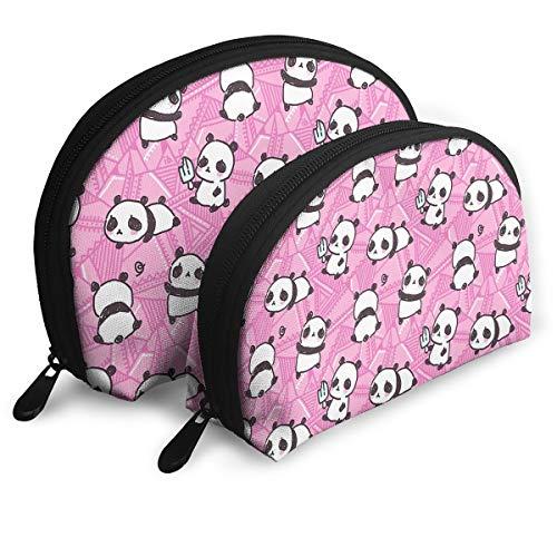 Cute Pandas Pattern Female Portable Shell Makeup Storage Bag Waterproof Toiletry Organizer Travel Cosmetic Pouch Bag