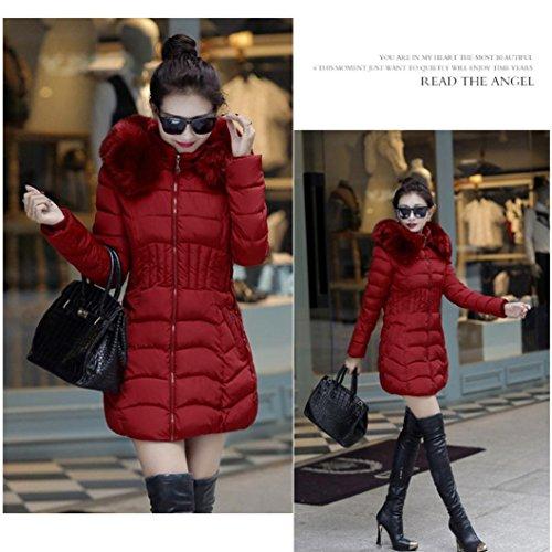 La Slim Hiver Rouge Du Veste Tranchées Womens Zycshang Jacket Mode Longue Extérieur Chaude Tenue Parka Vin Manteau Femme De 7WgZSc