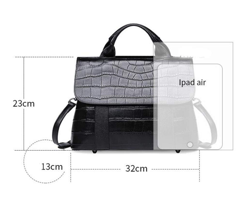 Color : Black, Size : OneSize ALLHM Handbag Fashion Leather Handbags Stone Pattern Shoulder Bag Diagonal Cross Package Multi-Pocket Capacity