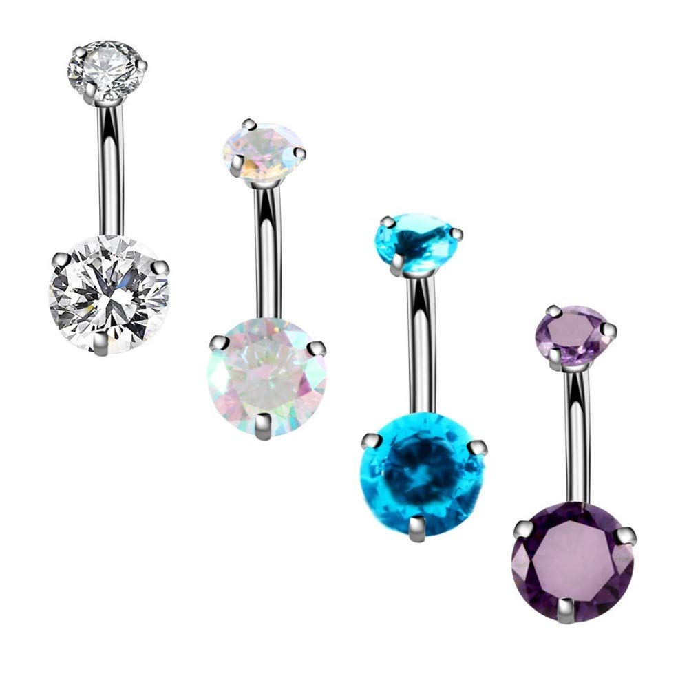 YHMM 14G Surgical Steel Belly Button Rings Round Cubic Zirconia Navel Barbell Stud Body Piercing