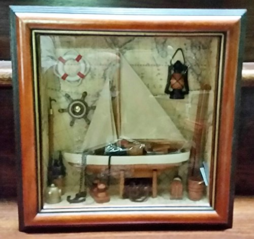 Diorama Framed Wood of Sailboat and Vintage Accessories 11.5 Square