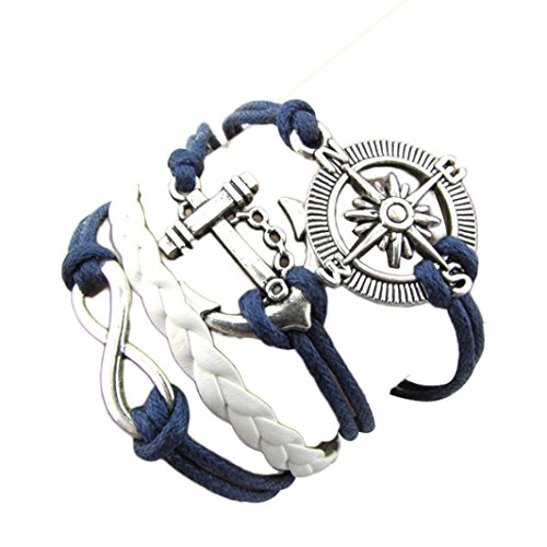 BCDshop Hot Infinity Love Anchor Compass Leather Charm Bracelet Plated Silver - Hot Anchor Women