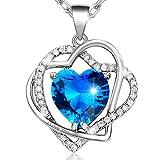 MARENJA-Cadeau de Noël Collier de la mode des femmes-coeur bleu coupe en cristal gravé \