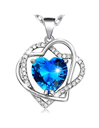 """MARENJA-Valentine Gifts Women's Fashion Necklace-Blue Heart Cut Crystal Pendant Engraved """"I Love You"""" with Chain-White Gold Plated Crystal Jewelry"""