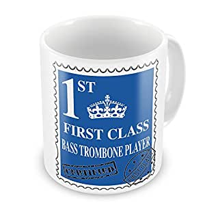 Primera clase reproductor de graves trombón taza regalo–azul