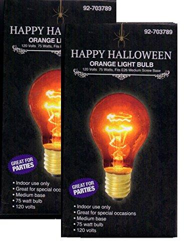 Happy Halloween 2 Pack 75 Watt Bulbs Black (A-19, Orange) ()