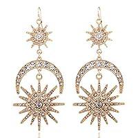 GUYUEXING Large Star Moon Sun Unicursal Hexagram Dangle Drop Earrings for Women (Gold)