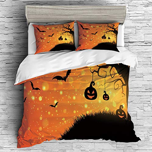 3 Pieces (1 Duvet Cover 2 Pillow Shams)/All Seasons/Home Comforter Bedding Sets Duvet Cover Sets for Adult Kids/King/Halloween,Magical Fantastic Evil Night Icons Swirled Branches Haunted Forest Hill D -