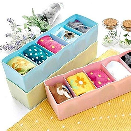 5-Grid Plastic Storage Box Closet Dresser Drawer Divider Basket Bins Cosmetic Organizer for Underwear, Bras, Socks, Ties, Scarves (Blue) by Baost (Image #4)