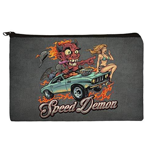 Speed Demon Flaming Hot Rod Makeup Cosmetic Bag Organizer -
