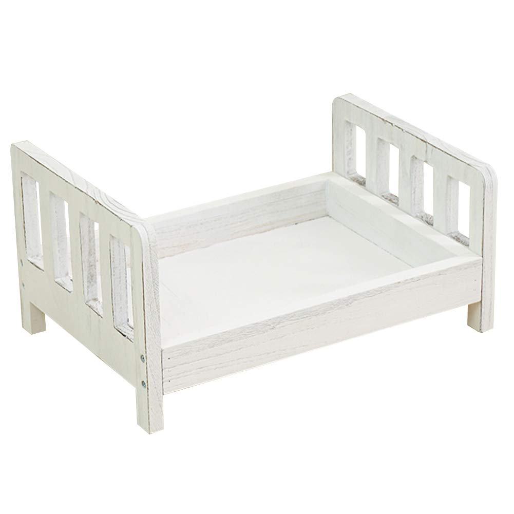 Wooden Baby Cot Newborn Small Wooden Bed 42x28.5x21.5CM Detachable Simple to Assemble Multiple Colour for Newborn Baby Photography by Hydra52