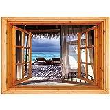 3D Depth Illusion Vinyl Wall Decal Sticker [ Coastal Decor,Luxury Romantic Wooden Bungalow on the Water Deckchairs Maldives Beach,Brown Aqua Blue ] Window Frame Style Home Decor Art Removable Wall Sti