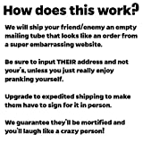 Ship Your Friends an Embarrassing Box Prank: MicroPenisCure. We Mail Your Target a Hilariously Labeled Package to Make Them Cringe. Great Gag Gift & Practical Joke. Guaranteed to Mortify & Offend!