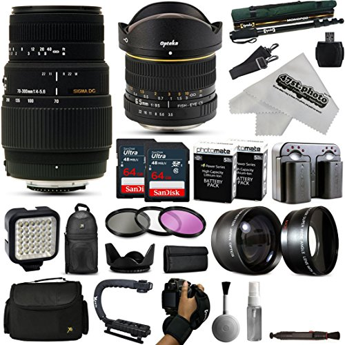Opteka 6.5mm + 70-300mm Lens Kit with 128GB for Nikon D7200