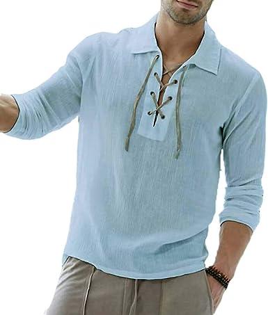 Camisa con Cordones de Solapa de Manga Larga de Color sólido para Hombre: Amazon.es: Ropa y accesorios