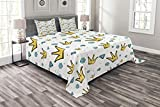 Lunarable Queen Bedspread Set King Size, Hand Drawn Gemstones Dots Crowns Doodle Style European Royalty Pattern, Decorative Quilted 3 Piece Coverlet Set with 2 Pillow Shams, Pale Blue Yellow Black