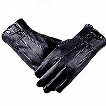 Men's Genuine Leather Warm Winter Gloves Motorcycle Full Finger Soft Sheep Skin Lined Driving Gloves