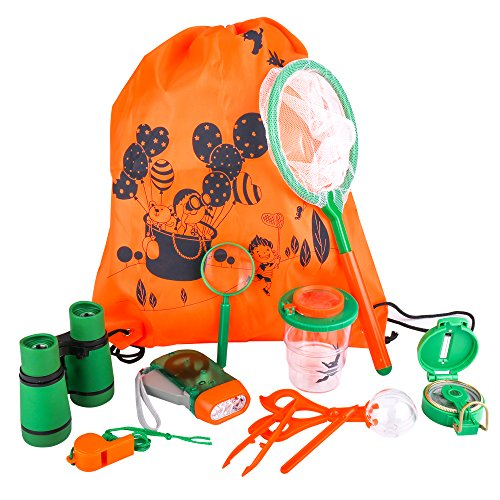 IAMGlobal Outdoor Adventure Kits, Kids Exploration Kit, Nature Explorer Kit - Binoculars, Flashlight, Compass, Whistle, Magnifying Glass, Tweezers, Bug Container, Backpack for Camping Hiking(10 Pcs)