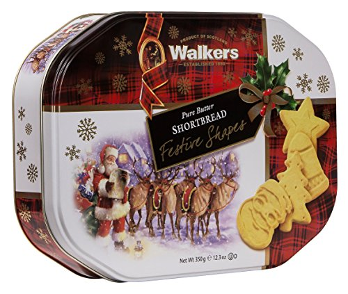 Walkers Shortbread Festive Shapes, 12.3-Ounce Tin (Cookies Christmas Sugar)