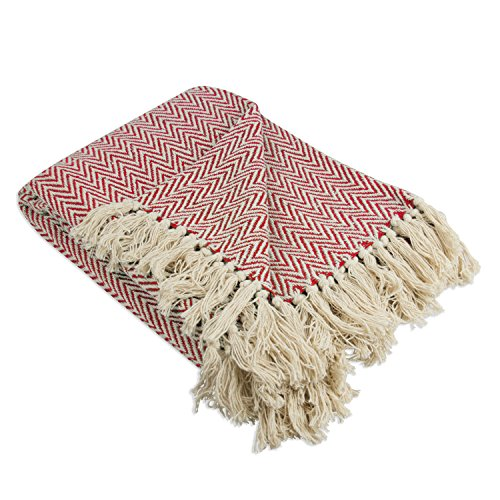 DII Rustic Farmhouse Throw Blanket with Decorative Tassles, Use for Chair, Couch, Bed, Picnic, Camping, Beach, Just Staying Cozy at Home (50 x 60), Mini Chevron Tango Red