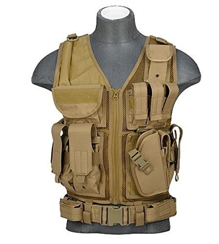 (Lancer Tactical Cross Draw Vest in Khaki)