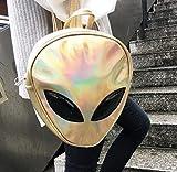 UltimaFio - Fashion Alien Design Backpack Women Silver Hologram Laser Women's Backpack Femal Bag pu Leather Holographic Backpack [Gold ]