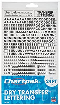 24PT) - Chartpak Dry Transfer Letters and Numbers, 24PT Helvetica ...