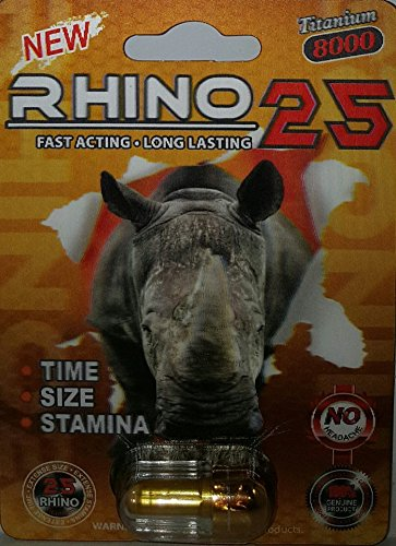 RHINO 25 8000MG 3D TITANIUM Natural Sexual Performance Enhancement Stamina Men 6 Pills