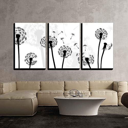 Black and White Style Dandelion x3 Panels
