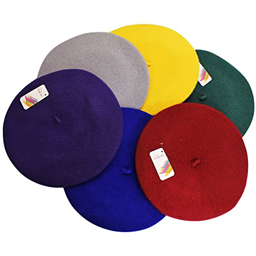 CoverYourHair Wool Berets for Adults - French Beret - Artist Hat - 6 Pack (Colorful - 6 Pack)
