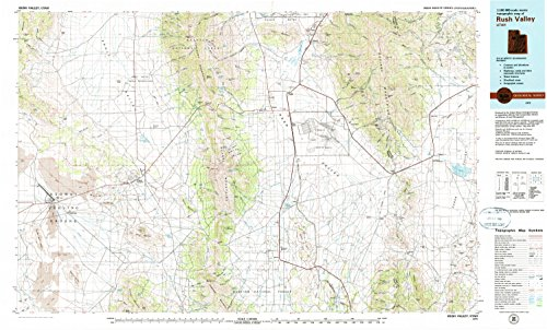Rush Valley UT topo map, 1:100000 scale, 30 X 60 Minute, Historical, 1979, updated 1985, 24.1 x 40 IN - - Creek Center City Map