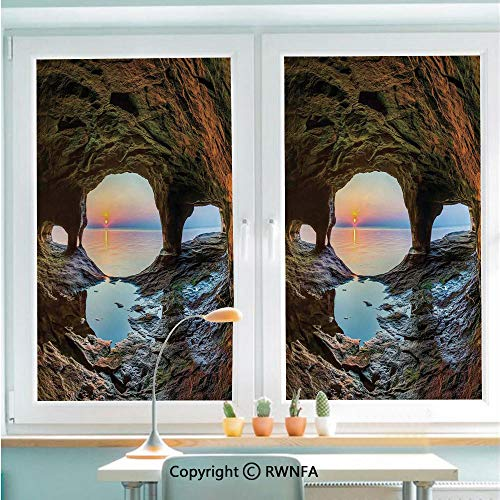 Window Film No Glue Glass Sticker Horizon View from Fairy Mossy Invisible Big Grotto by The Sea Up Rocks Photo Static Cling Privacy Decor for Kitchen Bathroom 22.8x35.4inches,Green Blue