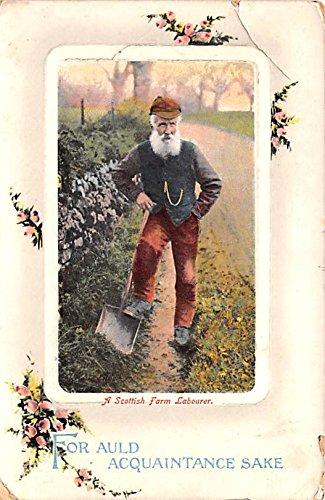 Scottish Farm - Scotland, UK Old Vintage Antique Post Card Scottish Farm Labourer 1910