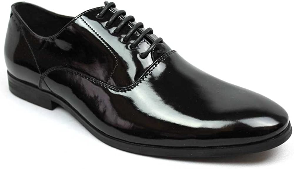 Men's Tuxedo Shoes Patent Leather Traditional Round Toe Lace Up Oxfords AZAR
