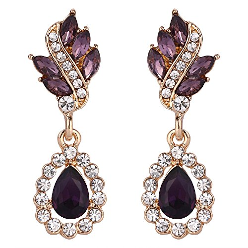 EleQueen Women's Austrian Crystal Art Deco Tear Drop Earrings Gold-tone Purple (Purple Teardrop Ring)