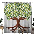 NUOMANAN Curtains for Bedroom Tree of Life,Symbolic Eco Tree with Hands Saving Global Goals Modern Life Image,Green Brown White Curtain Panels for Bedroom & Kitchen,1 Pair