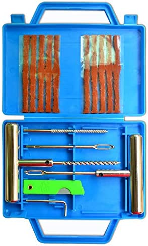 ITEQ T-Handle Tire Plug Kit, 16-Piece Tire Repair Tool Set to Fix Punctures and Plug Flats, Ideal for Car, Truck, RV, Jeep, ATV, Motorcycle, Bicycle, Tractor, Trailer