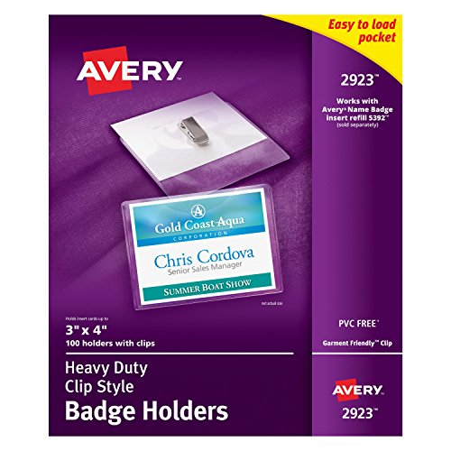 "Avery Clear Heavy-Duty Clip Style Landscape Badge Holders, 3"" x 4"", Box of 100 (2923)"