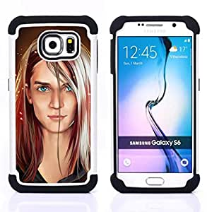GIFT CHOICE / Defensor Cubierta de protección completa Flexible TPU Silicona + Duro PC Estuche protector Cáscara Funda Caso / Combo Case for Samsung Galaxy S6 SM-G920 // Portrait Art Blonde Blue Eyes Girl Woman //