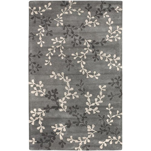 (Diva At Home 5' x 8' Tahara Petal Feather Gray and Pewter Wool Rectangular Area Throw Rug)