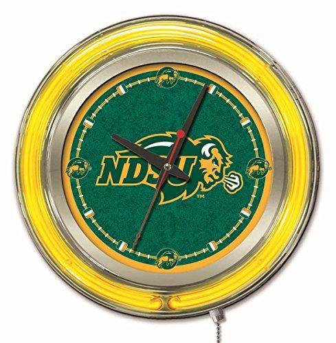 Ncaa College Neon Clock - Holland Bar Stool Company NCAA North Dakota State Double Neon Ring 15-Inch Diameter Logo Clock