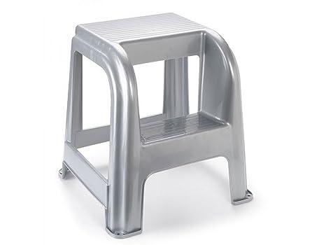 Sgabello step plastica argento fatigati amazon casa e cucina